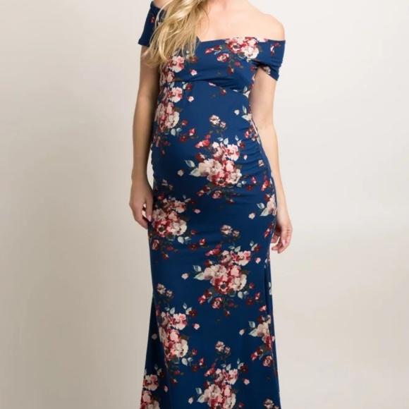 20eb3581a9db6 Pink Blush navy blue floral maxi maternity size M.  M_5ae5d724a4c48508cc76cd79